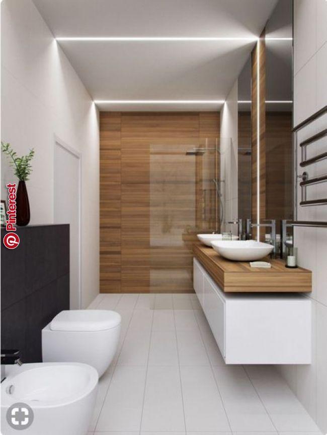 Idée thème bois-carrelage blanc + lavabo # ...