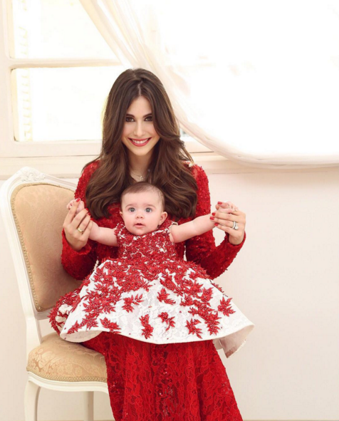 The Gorgeous Blogger Nour Arida Wearing A Red Lace Embroidered Gown With Her Sweetheart Ayla Who Is Wearing A Special Ram Kids Gown Fashion Flower Girl Dresses
