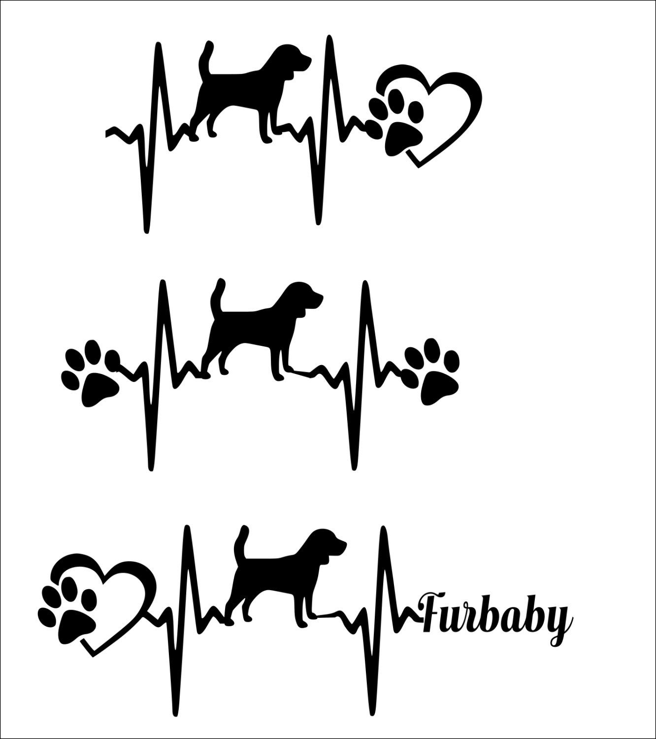 Svg Cut File Cute Beagle Heartbeat Paw With Heart