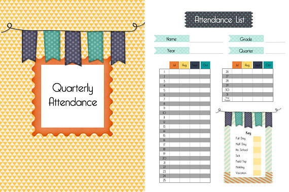 All-in-One Home school Lesson Planner and Record Keeping Book - attendance list