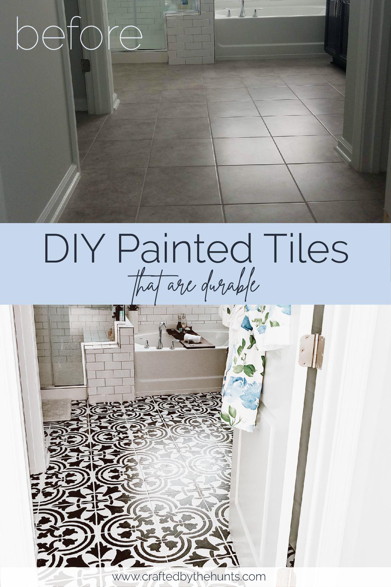 Diy Painted Tile Floors Painting Tile Painting Tile Floors Painting Bathroom Tiles