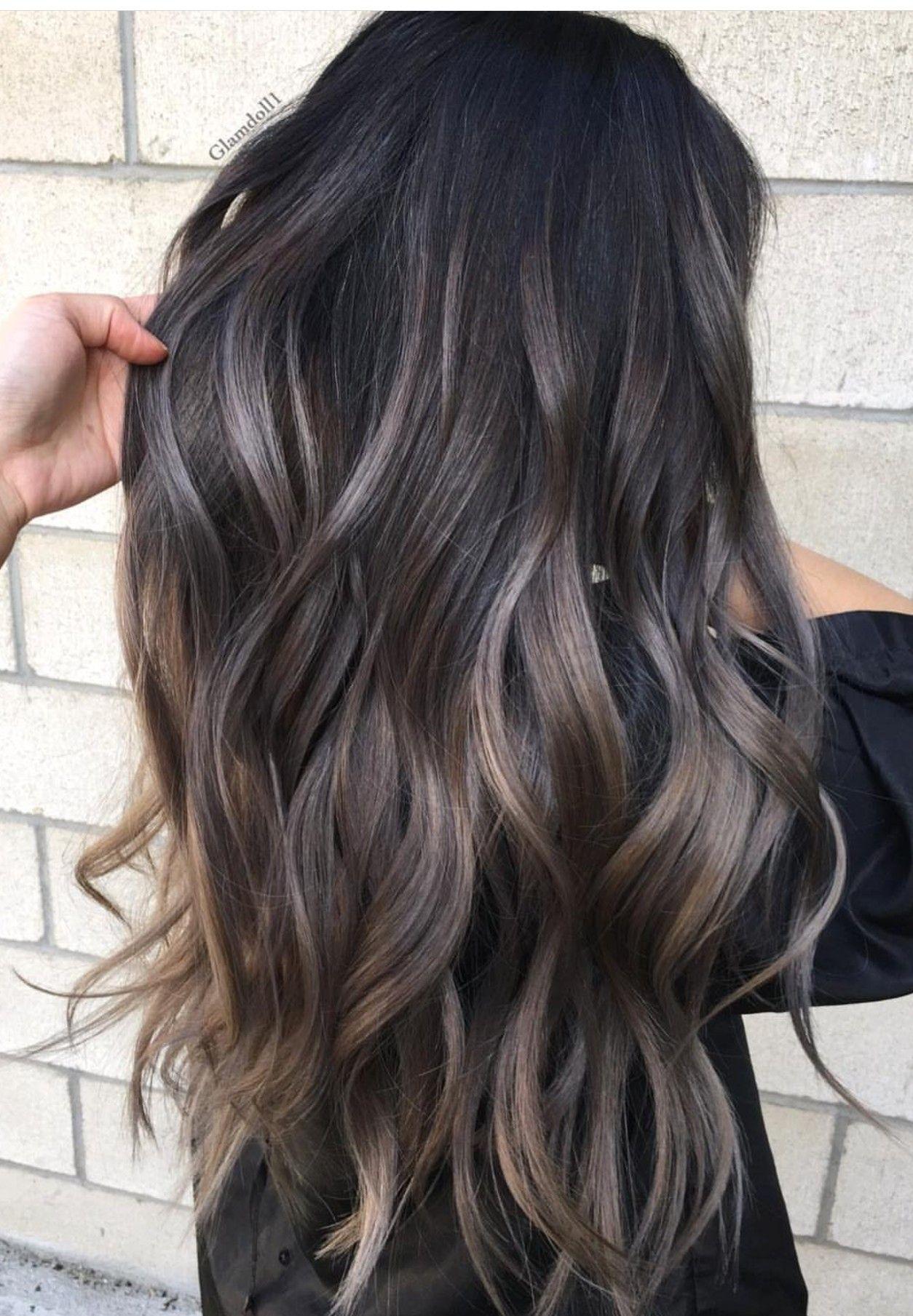 Cool Toned Balayage On Dark Hair Google Search Ash Blonde Hair Colour Hair Color 2018 Charcoal Hair