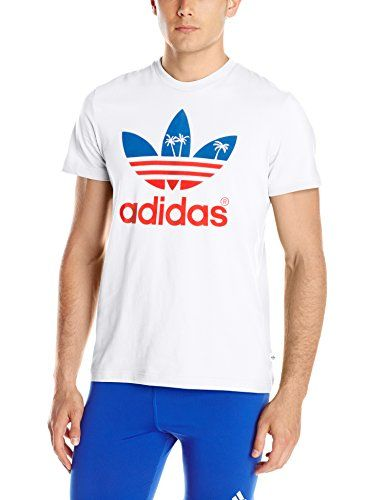 af3be644 adidas Originals Men's Palm Tree Trefoil Graphic Tee, White, Large adidas  Originals http: