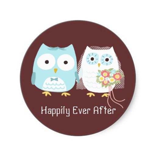 Cute Owls Wedding Bride And Groom Newlywed Couple Classic