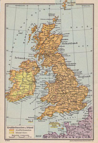 Vintage Landkarten Reiseliteratur Karte Grossbritannien Irland
