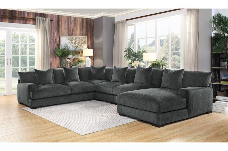 He 9857dg 5pc 5 Pc Worchester Dark Gray Chenille Fabric Modular Sectional Sofa Modular Sectional Sofa Sectional Sofa Gray Sectional Living Room