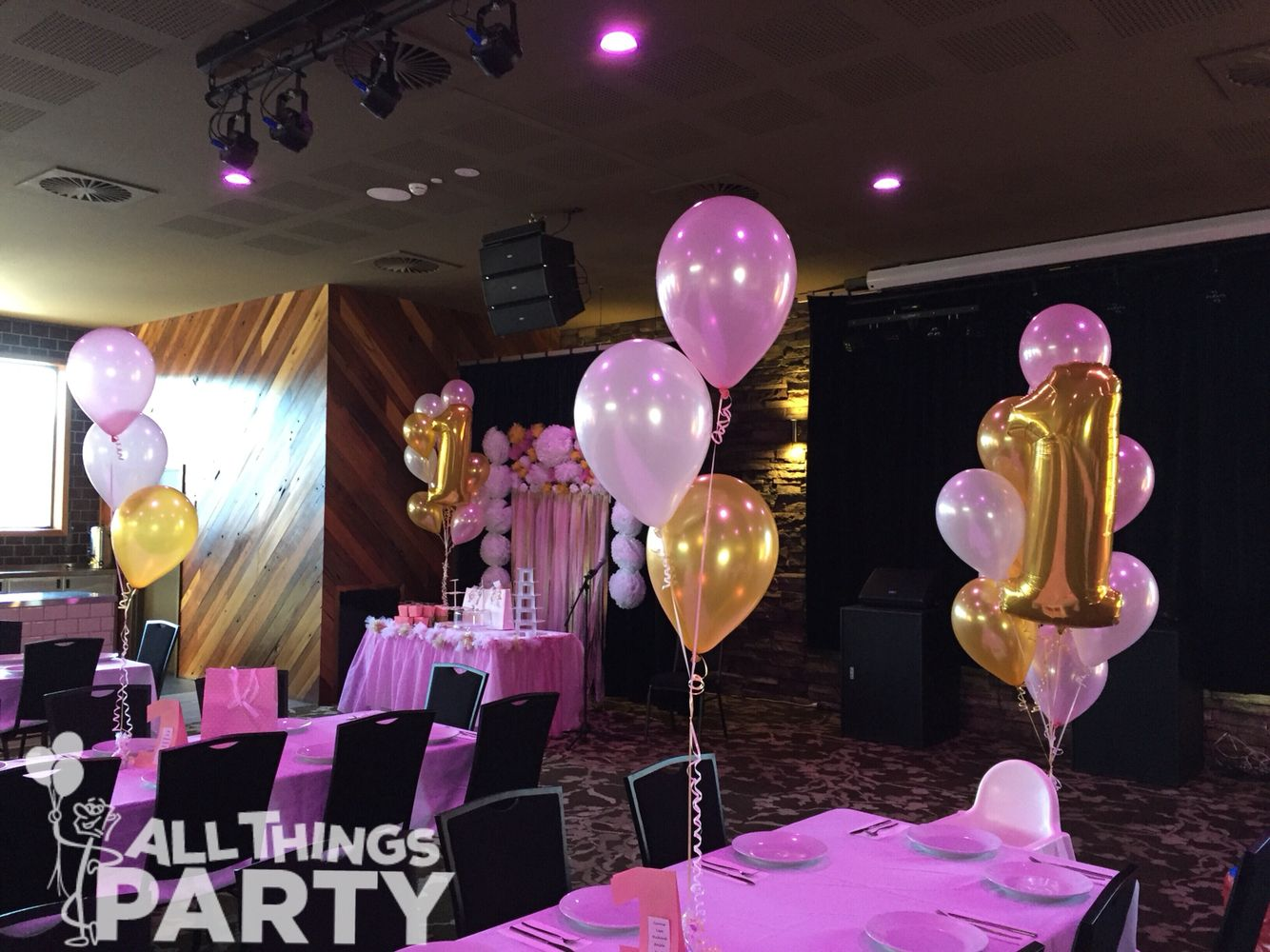 1st Birthday Girl Balloon Decorations Pearl Pink White Gold Theme