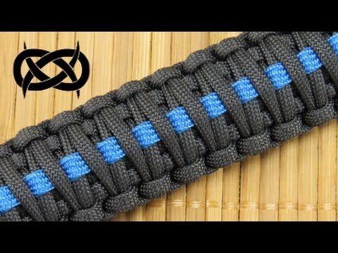 Thin Blue Line Police Officer Trilobite Weave Double Blue Line Paracord Bracelet