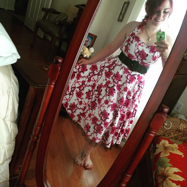 My hair is being super uncooperative because of this heat.  oh whale.  #ootd #selfie #swingdress #flowers #vintage #style #redhead #girlswithtattoos
