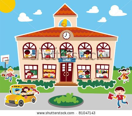 stock vector : Time to go back school vector illustration background. Bus, children and school facade composition.