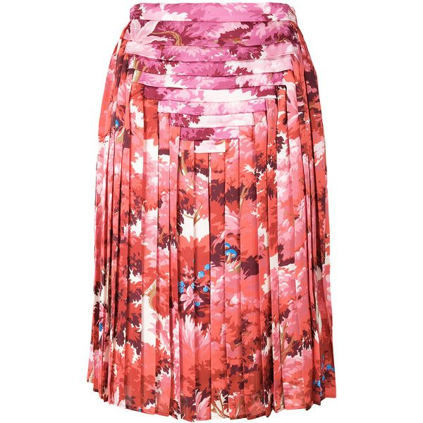 73b2fccd42 Marco De Vincenzo foliage print pleated skirt (641.920 CLP) ❤ liked on  Polyvore featuring