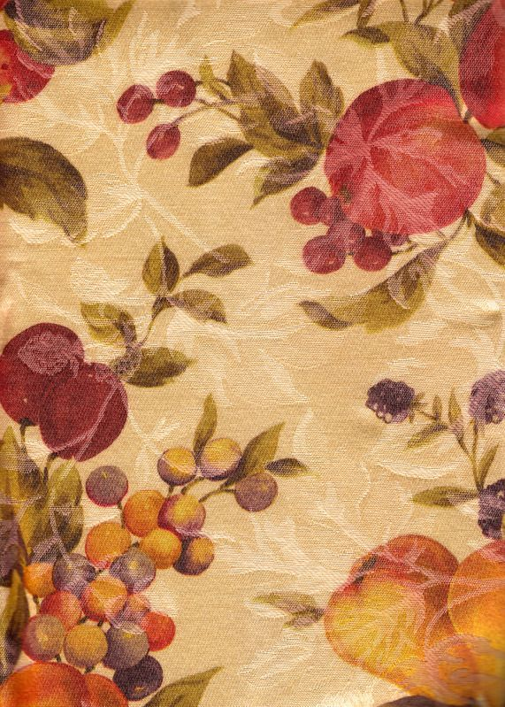 Tuscan Harvest Fall Fruit Frost Damask Beige Fabric Tablecloth Grapes