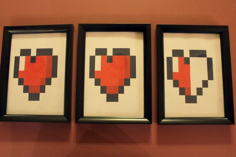 Zelda/8 Bit Heart Triple Wall Decor | Wall decor, Walls and Etsy