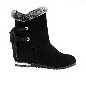 Women's Kitten-Heels Solid Round Closed Toe Frosted Zipper Boots Black 39