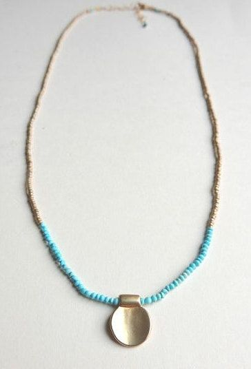 Lantana Necklace with Turquoise Micro Beads on Silk by FlowDesigns
