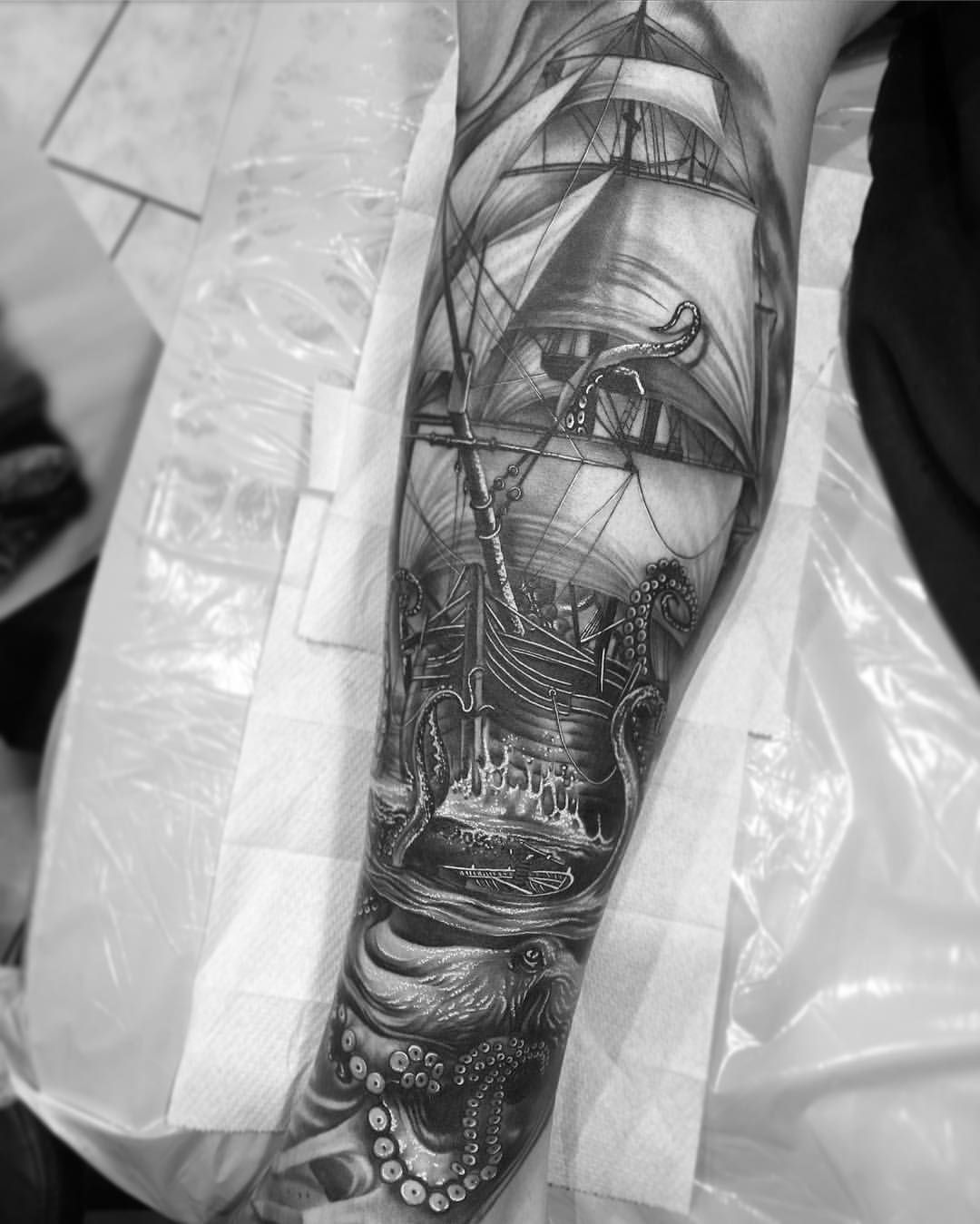 Nautical Tattoo Poseidon And Ship: Pin By Scott Boyd On Tattoos