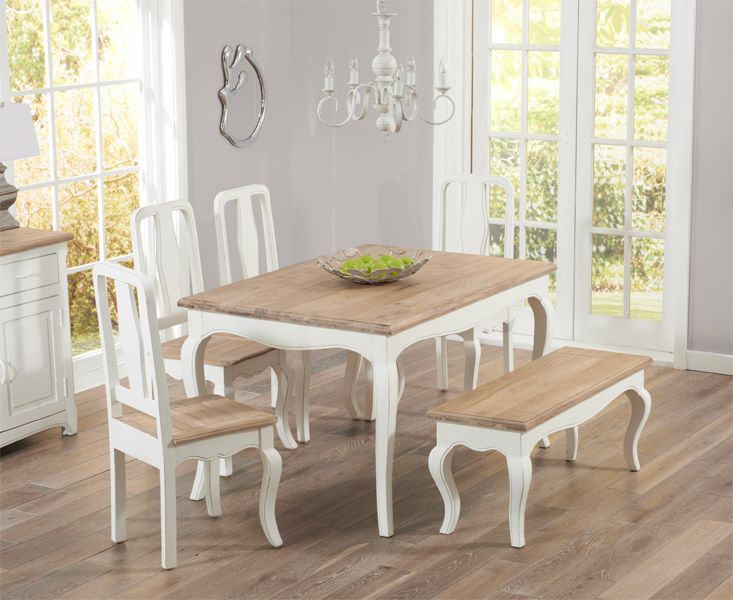 Parisian 130cm Shabby Chic Dining Table With Chairs And Benches