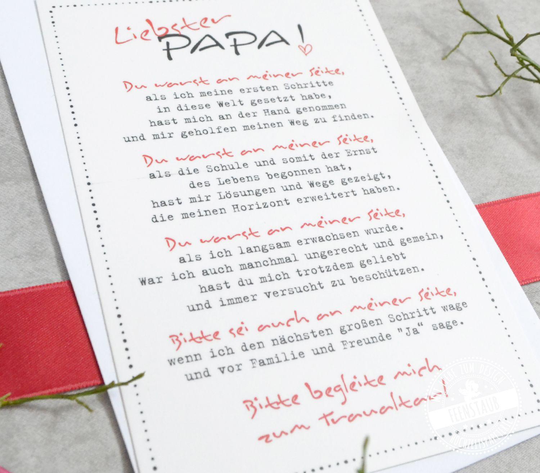 Karte Liebster Papa Gastgeschenke Hochzeit Blumensamen
