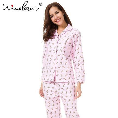 18ea28f341a4 2018 Pink Pajama Sets Women Cute Dachshund Print 2 Pieces Set Long Sleeve  Top Elastic Waist