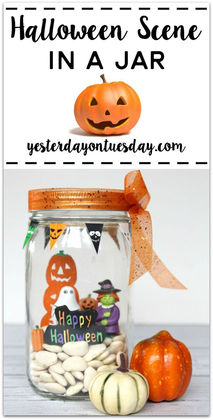 How to create a Halloween Scene in a Jar, a fun Halloween Decor - Whimsical Halloween Decorations