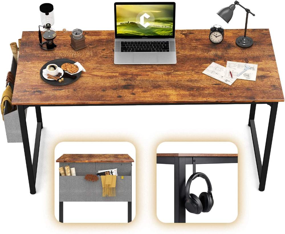 Amazon Com Cubicubi Study Computer Desk 55 Home Office Writing Desk Industrial Simple Style Pc Table Black Metal In 2020 Writing Table Pc Desk Vintage Style Desks