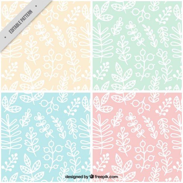 Colección de patrones de hojas blancas dibujadas a mano Vector ...