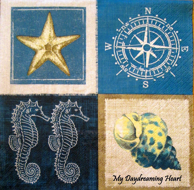 Coastal Napkins For Decoupage Ocean Trinkets Paper Napkins Seaside