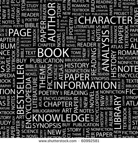 BOOK  Seamless vector pattern with word cloud  Illustration with