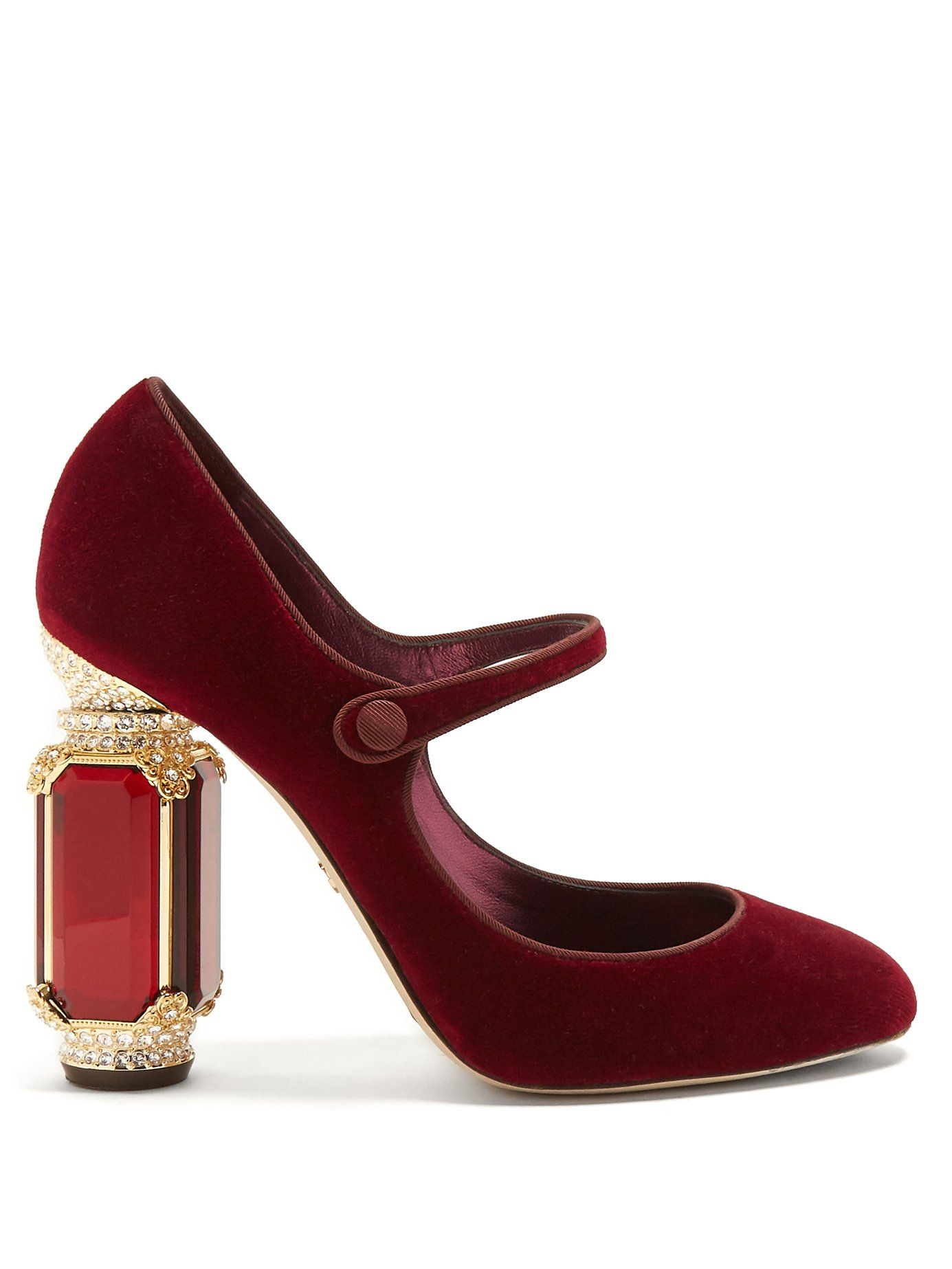 9e0b5b01df91e Crystal-embellished Mary-Jane velvet pumps | Dolce & Gabbana ...