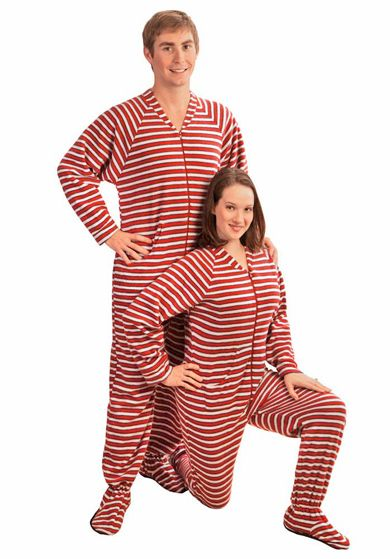 3f61efde0b0a Red and White Stripes Polar Fleece Drop Seat Footed Pajamas ...