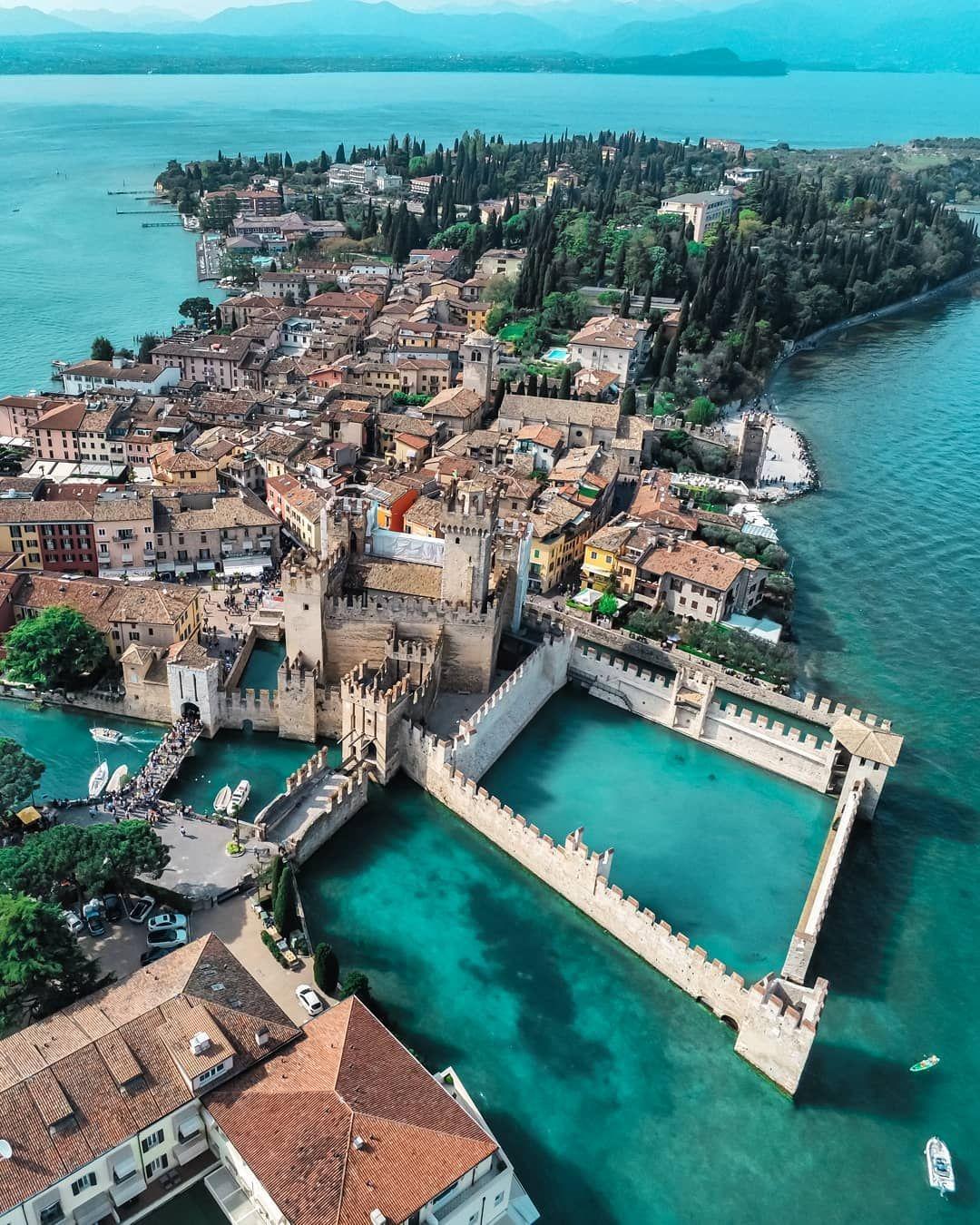 Droneshots From Sirmione Lago Di Garda In Bella Italia Have