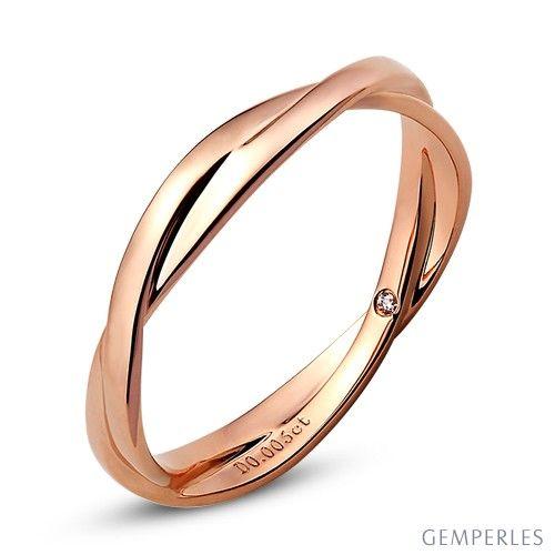 Magnifique Alliance 2 anneaux - Alliance Femme - Or rose - Diamant | 1001 @WA_45