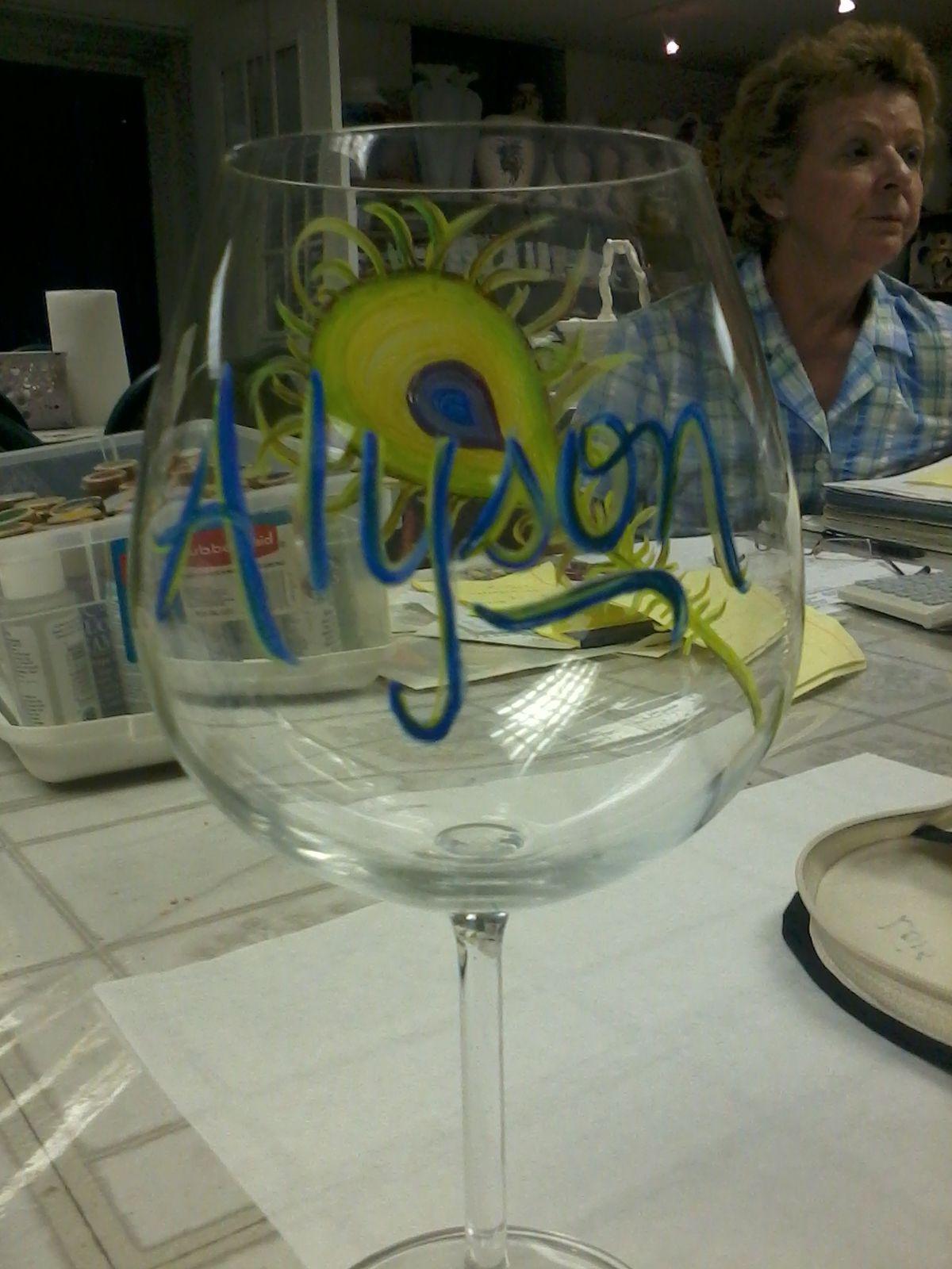2012 Alyson's 21st Bday Wine glass