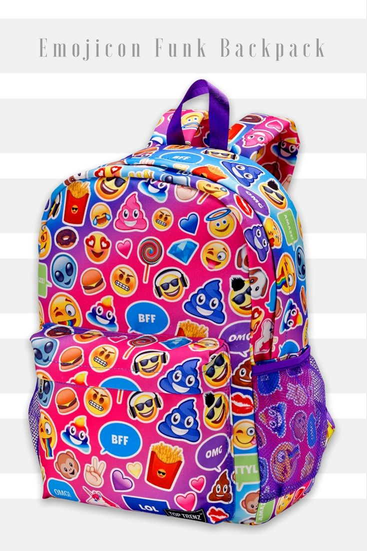 The perfect backpack for the emoji obsessed! Super vibrant