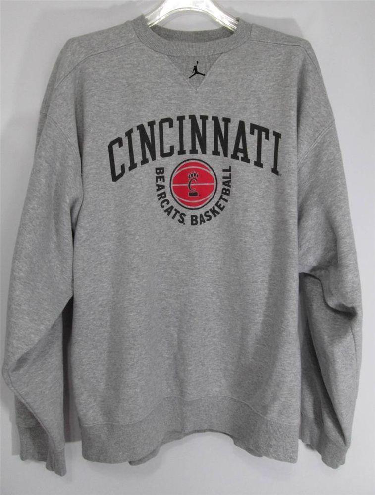 55c5af2326cb81 Nike Air Jordan Sweatshirt Cincinnati Bearcats Basketball Team Sweatshirt  Gray L  NikeJordan  CincinnatiBearcats