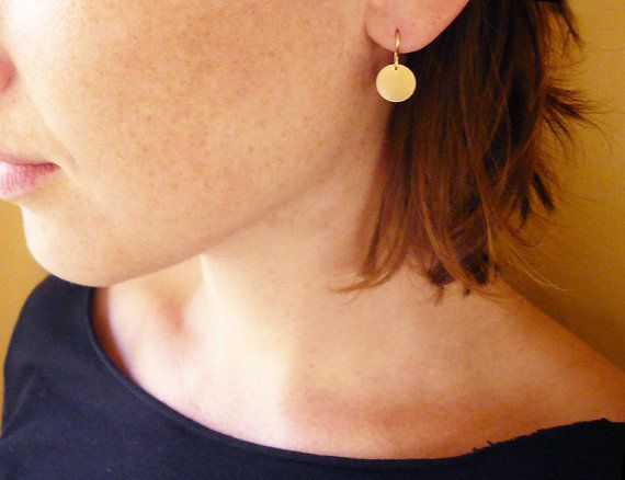 Simple Gold Circle Drop Earrings In Filled By Roundabout 24 00