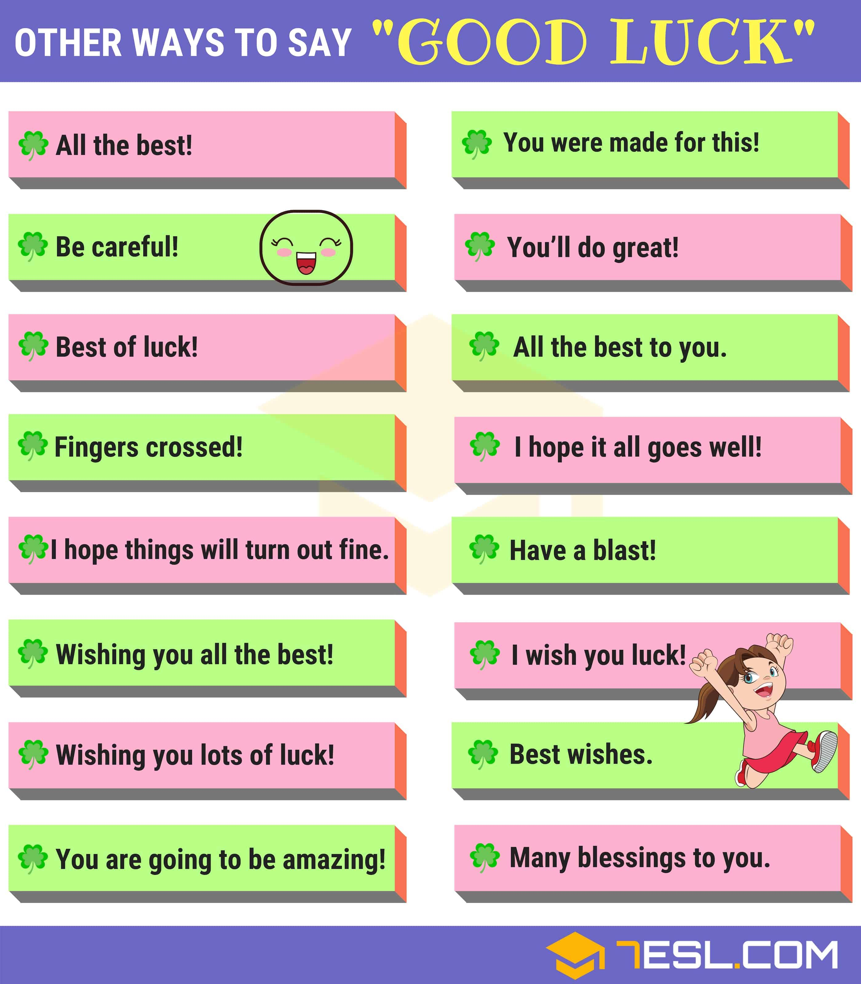 50 Ways To Say Good Luck In Writing Speaking Good Luck Synonyms 7esl Good Luck Quotes Writing Words Learn English Words