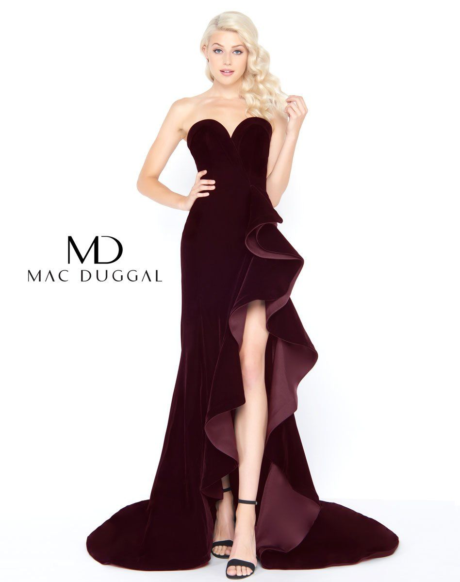 f2ca307e2f60 Mac Duggal prom dress. Strapless black velvet prom gown with high slit  tiered ruffle skirt. Slipping into this sizzling hot dress will make you  feel red ...