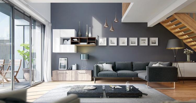 Wohnzimmer modern wand grau teppich sideboard fenster treppe monochrom holz