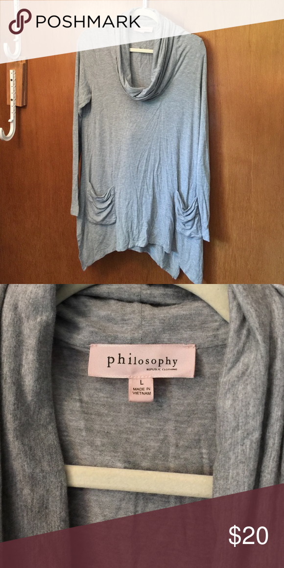 Comfy long shirt Great with leggings! Soft and super cute pockets! Worn only a few times Philosophy Tops Tees - Long Sleeve