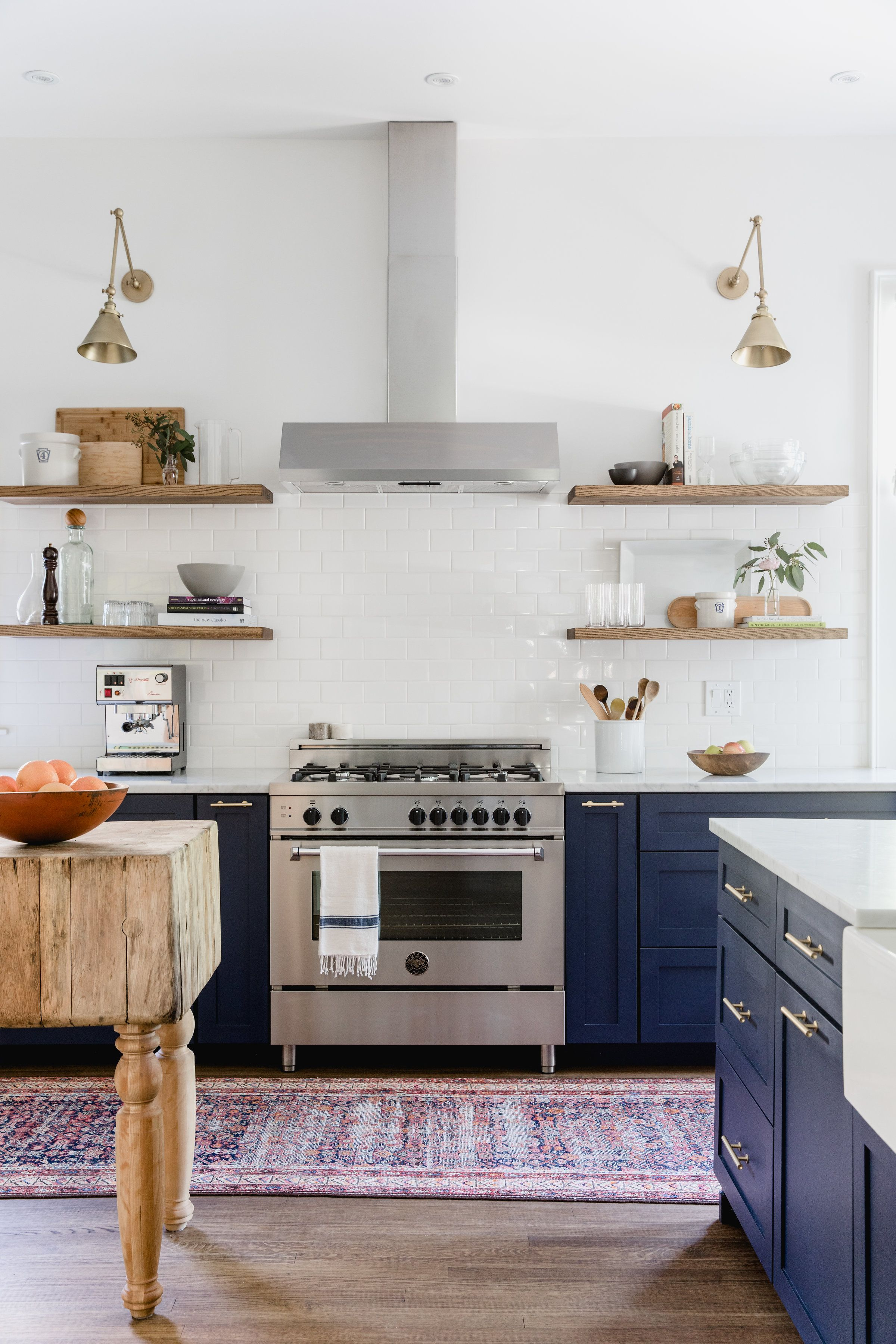 Very simple hood navy cabinets no to the walls shelves