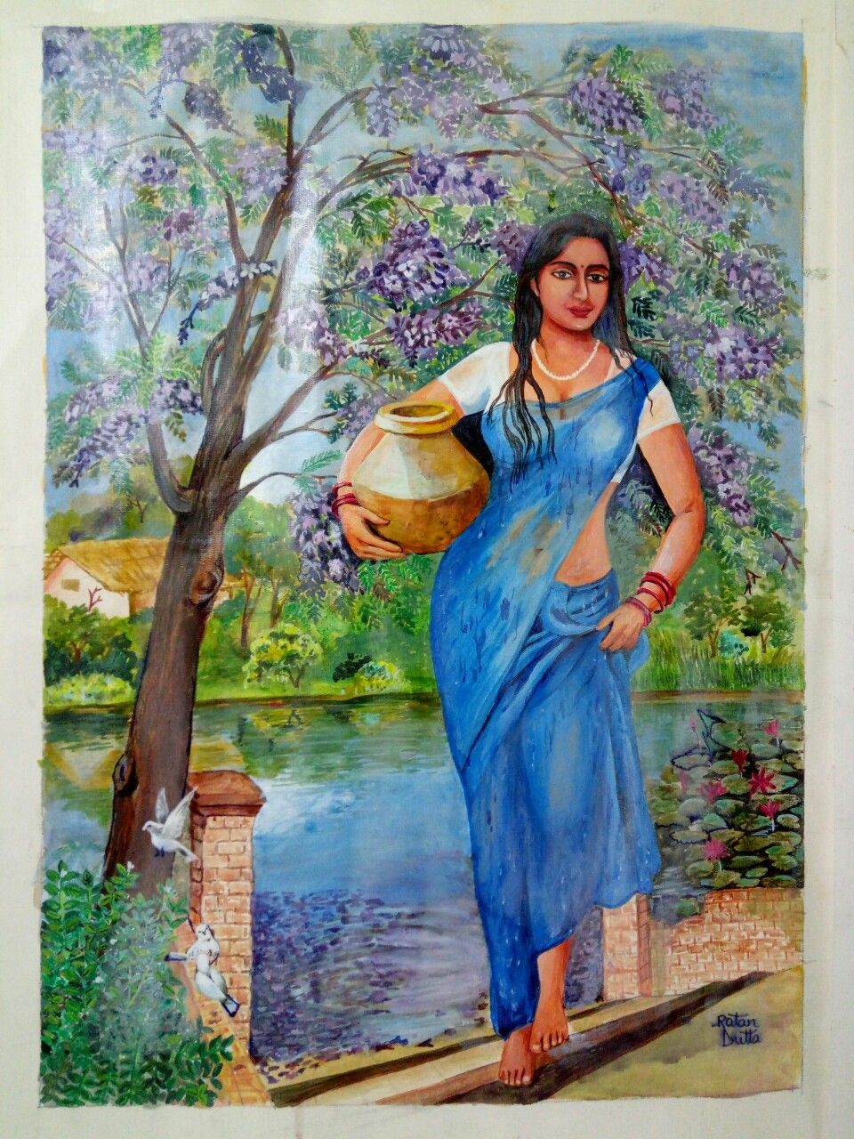 Ratan Dutta Paintings Indian Village Women Brings Water -9958