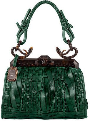 b2666720cafc3 Dior Samourai handbag - dark green, woven leather with snakes on handle
