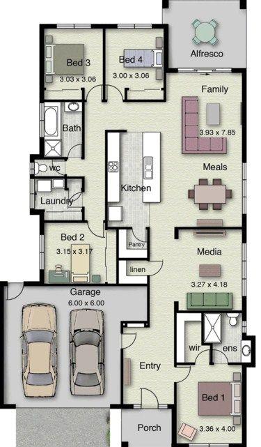 Plano de casa de un piso con 4 dormitorios decoracion for Planos de casas campestres de dos plantas