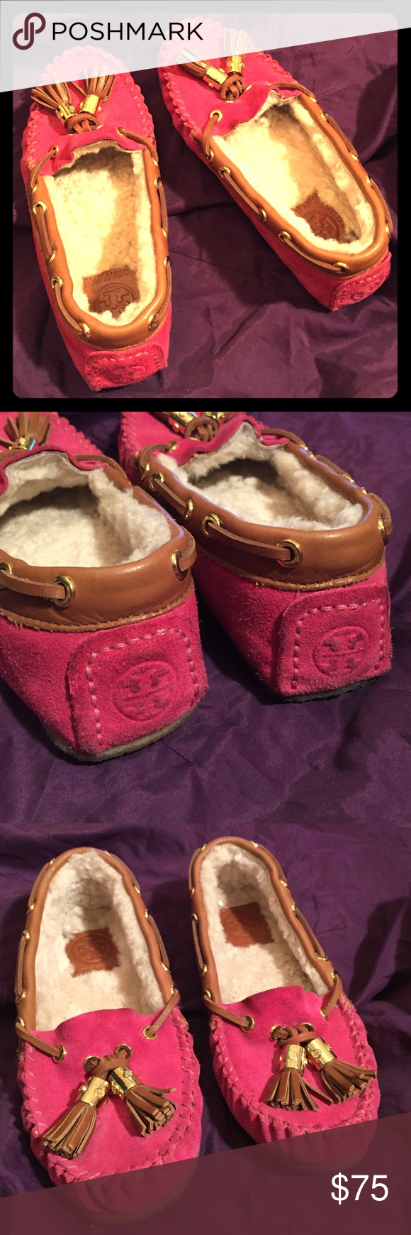 Tory Burch Dee Dee Moccasin Authentic, gently worn Magenta Pink Tory Burch Dee Dee moccasins. Suede upper, shearling lining, leather trim, tassel logo detail with gold hardware. Crepe rubber sole suitable for outdoor wear. No trades, PP or M. I'm a fast shipper!   Tory Burch Shoes Moccasins