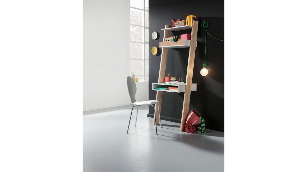 Schreibtisch mit Regal als effizientes Büromöbel #platzsparend #idee ...