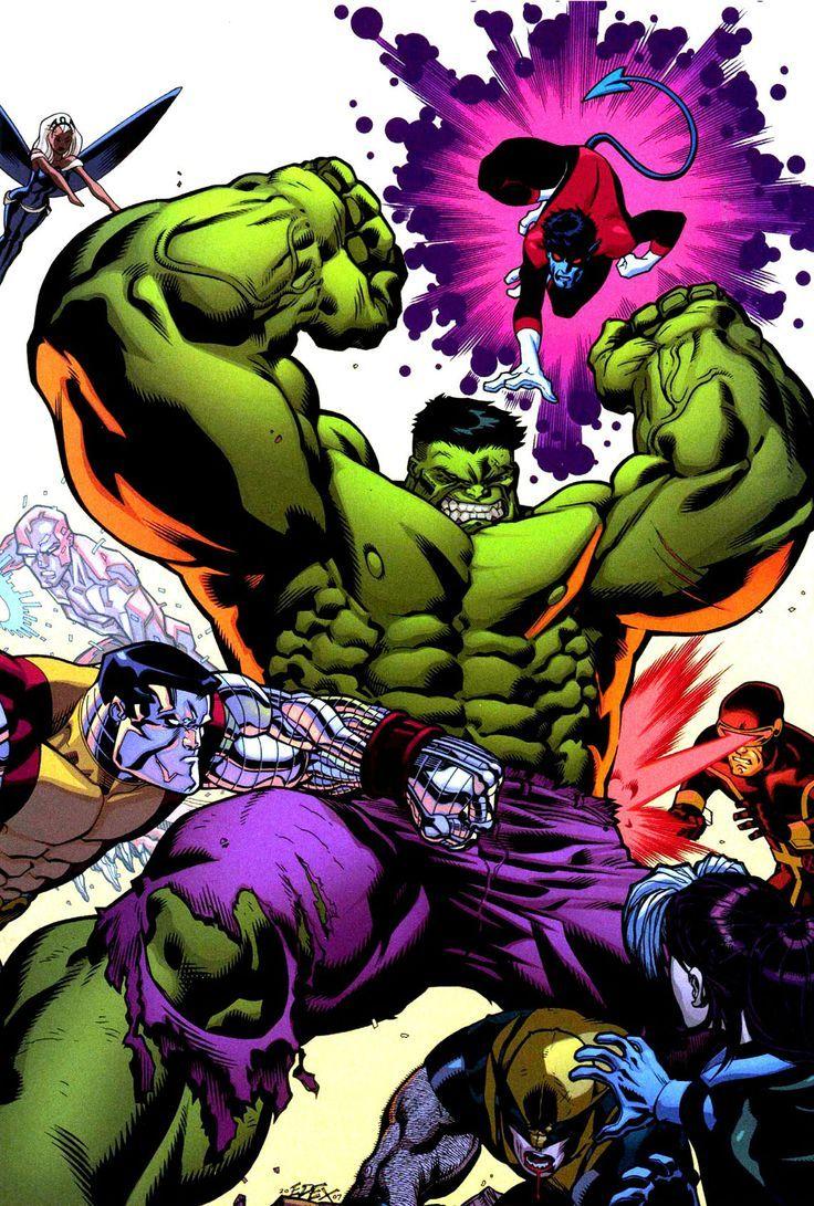 Hulk Fan Art Hulk Vs X Men By Ed Mcguinness The 5 Star Award Of Aw Yeah It S Major Awesomeness World War Hulk Hulk Art Hulk