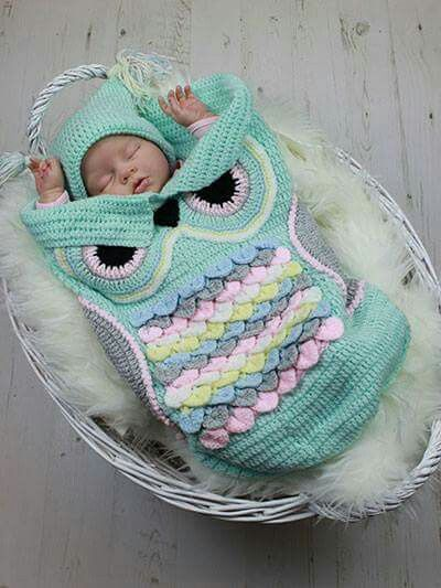 Owl baby cocoon, crochet | Crochet Projects | Pinterest