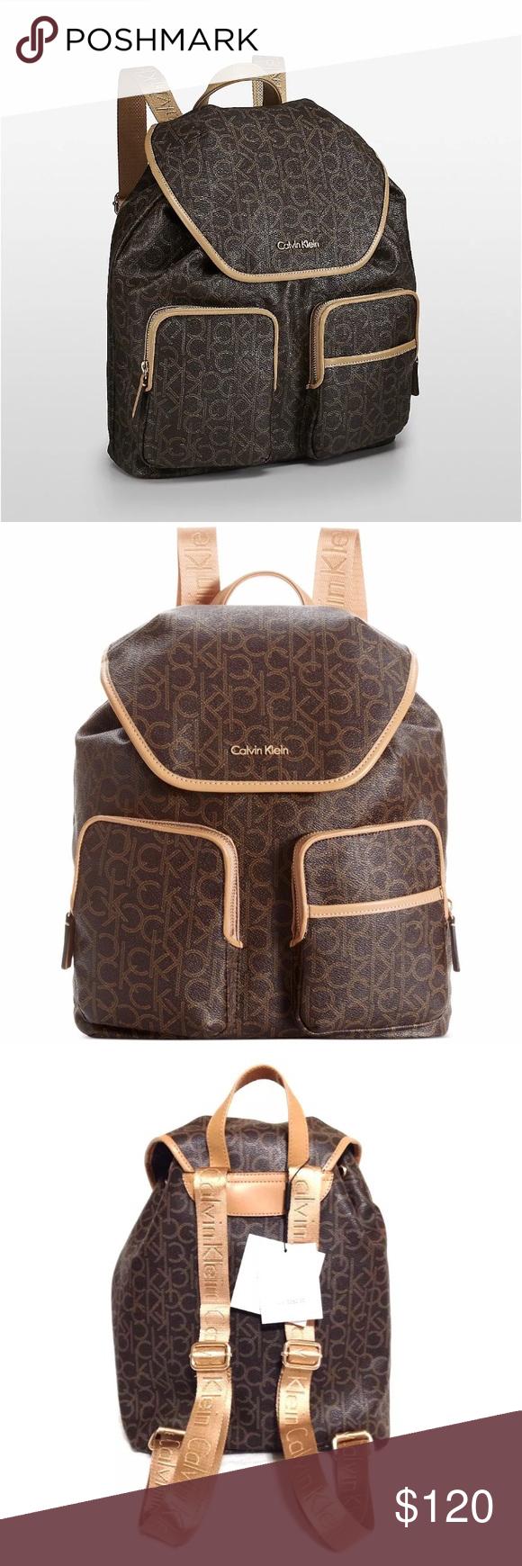61f7d0d05c Calvin Klein CK logo backpack leather luggage brwn Calvin Klein signature CK  logo luggage backpack COLOR