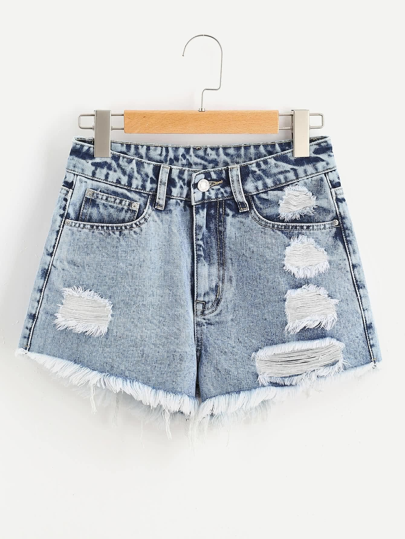 a5034aa957 SheIn - SheIn Cloud Wash Ripped Frayed Hem Denim Shorts - AdoreWe.com